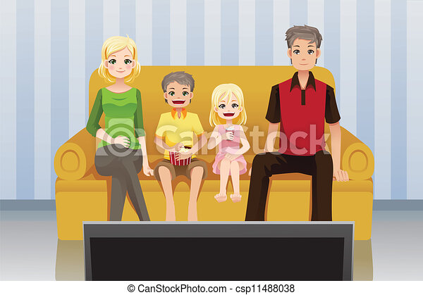 Family watching movies at home. A vector illustration of a ...