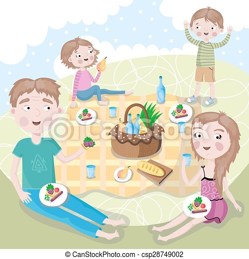 Family weekend. Happy family picnic. - csp28749002