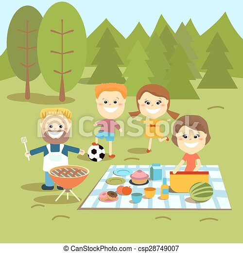 Family weekend. Happy family picnic. - csp28749007