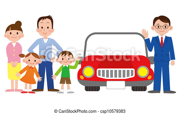 Family With A Car Salesman At The Dealer Stock Illustration
