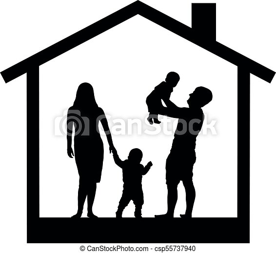 Family with children in the house, silhouette vector - csp55737940
