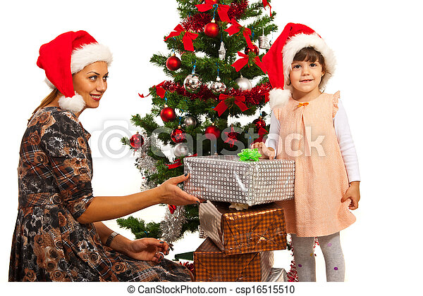 Family with Christmas gifts - csp16515510