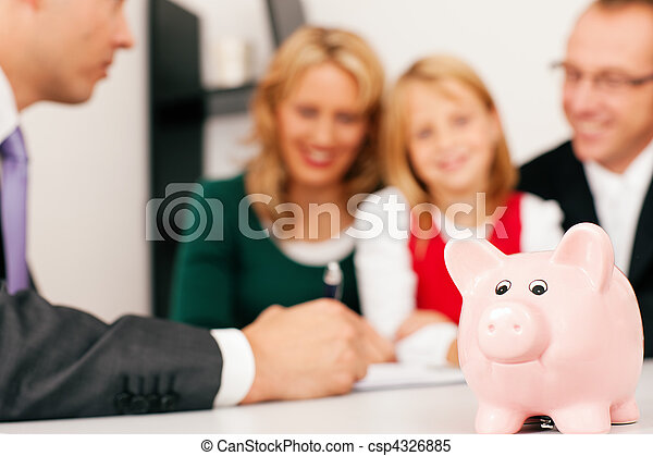 Family with consultant - finance and insurance - csp4326885