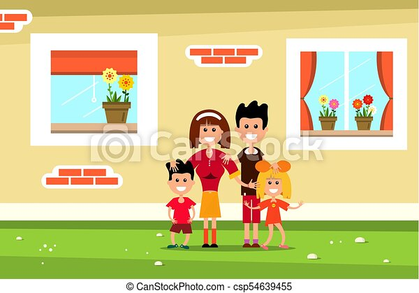 Family with Family House Wall and Windows. Vector Flat Design Illustration. - csp54639455