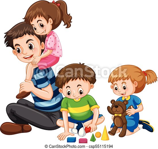 Family with father and three kids illustration.