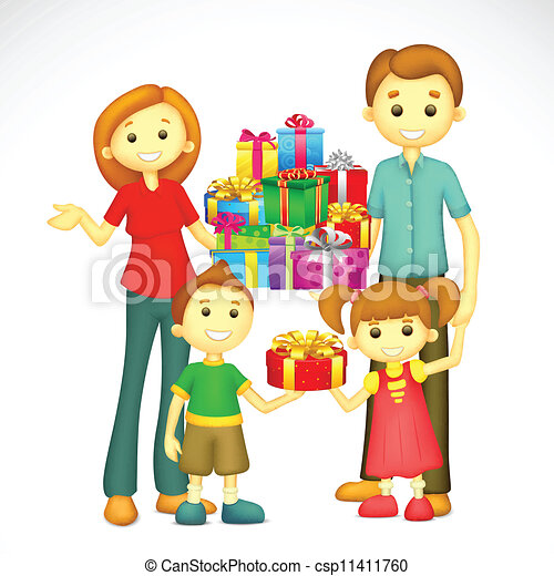 Family With Holiday Gift Vector