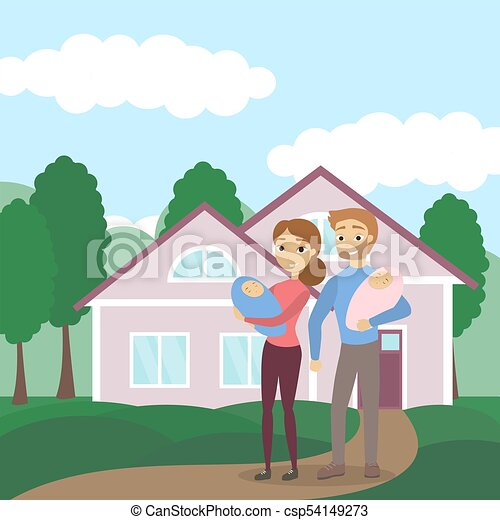 Family with house. - csp54149273