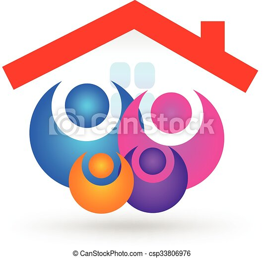 Family with new house logo - csp33806976