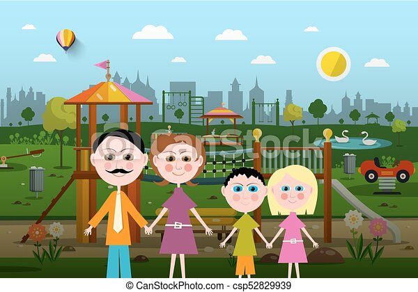 Family with Playground on Background - csp52829939