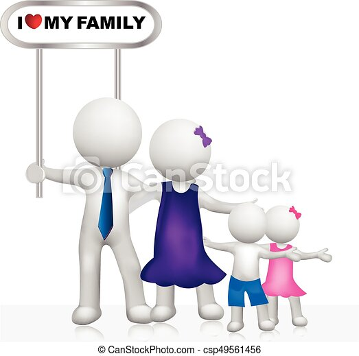 Family  with sign 3D white people logo - csp49561456