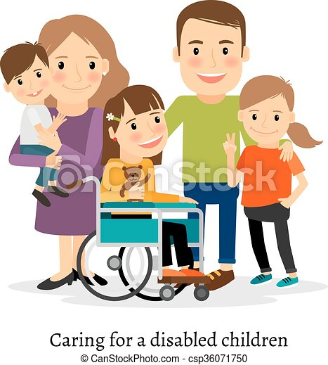 family with special needs children family with handicapped children rh canstockphoto com Education Clip Art special needs assistant clipart