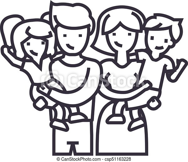 Family,happy Parents And Children Keep On Hands Vector Line Icon, Sign,  Illustration On Background,