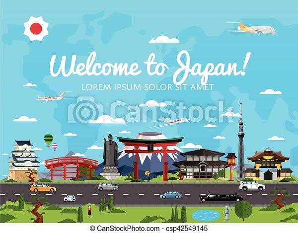 Bienvenidos al póster de Japón con atracciones famosas - csp42549145