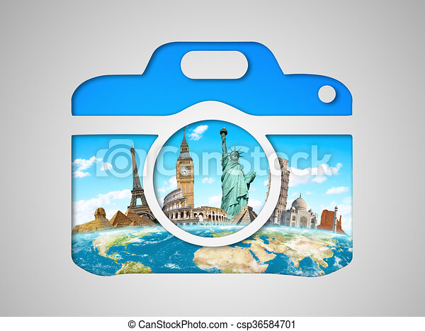 monumentos famosos del mundo en un ícono de cámara - csp36584701