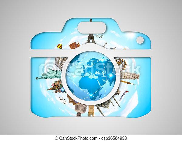 monumentos famosos del mundo en un ícono de cámara - csp36584933