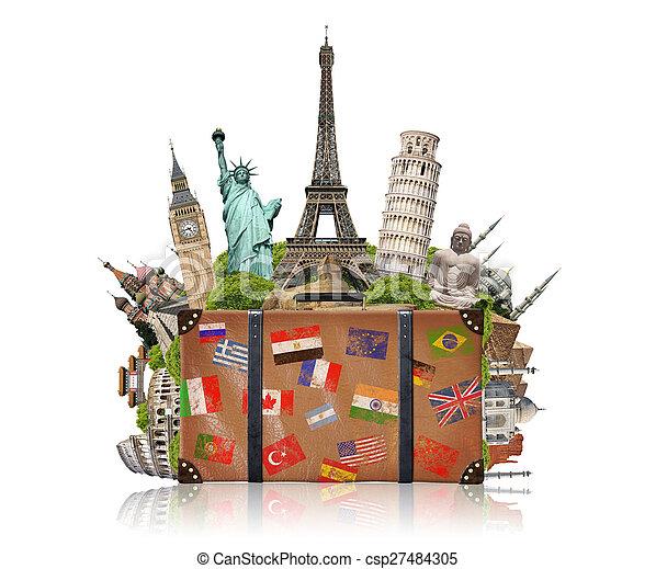 La ilustración de una maleta llena de monumentos famosos - csp27484305