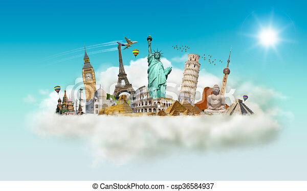 monumentos famosos del mundo en una nube - csp36584937