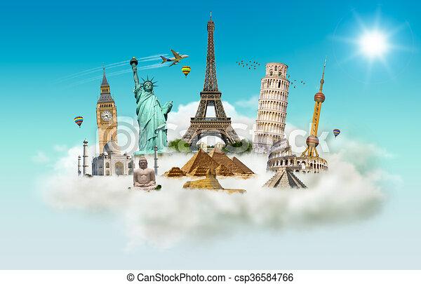 monumentos famosos del mundo en una nube - csp36584766
