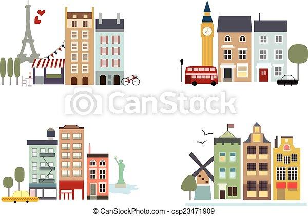 Ciudades famosas con puntos de referencia - csp23471909