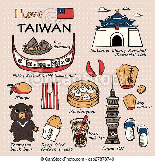 Cosas famosas de Taiwán y paisajes - csp27878740