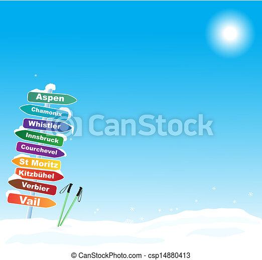 famoso, viaje del esquí, ilustración, destinaciones - csp14880413