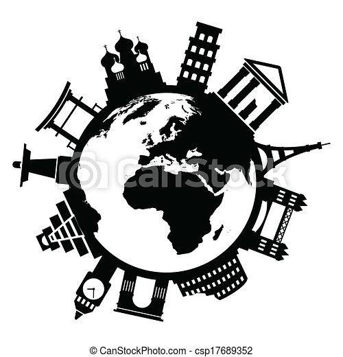 Viajar monumentos famosos por todo el mundo - csp17689352