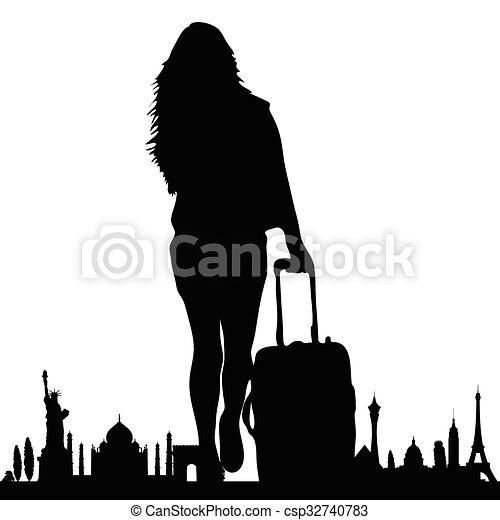 Un monumento famoso con vector de chica de viaje - csp32740783