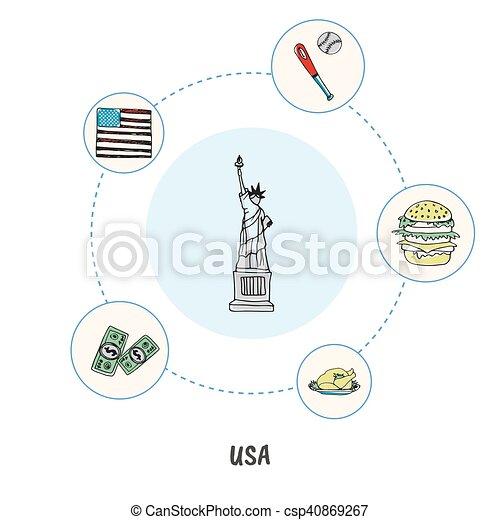 Famous American Symbols Doodle Vector Concept Attractive Clip
