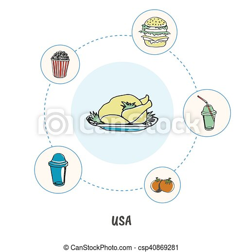 Famous American Symbols Doodle Vector Concept Attractive Usa