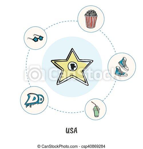 Famous American Symbols Doodle Vector Concept Attractive Vector