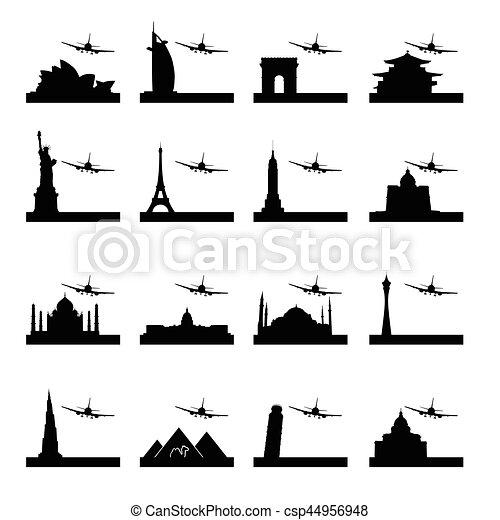 famous ancient monument set in black color illustration - csp44956948