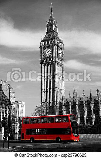 Famous Big Ben in London, England - csp23796623