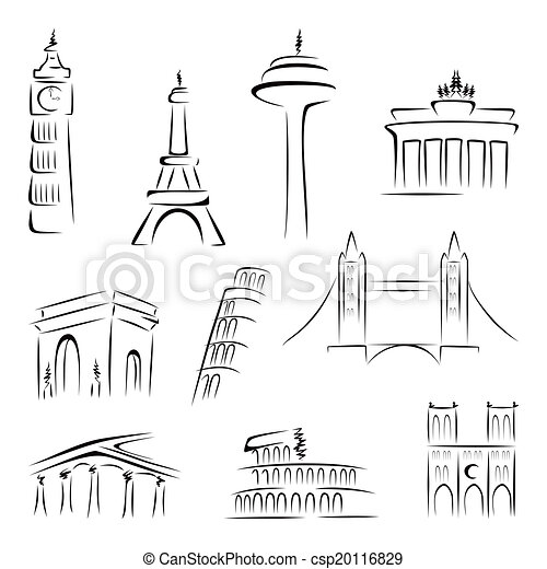 Famous Buildings Set Of World Most Landmarks At Vector
