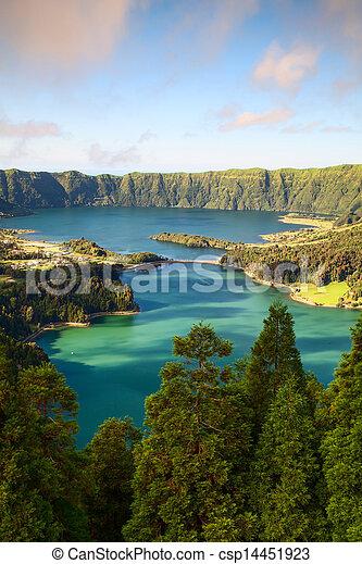 Famous caldera on Azores - csp14451923