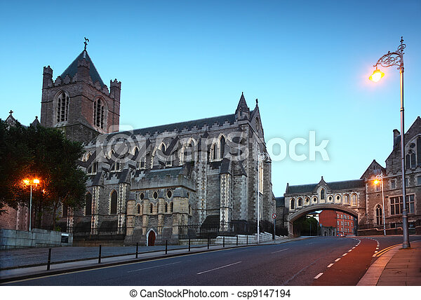 Famous Christ Church Cathedral at evening in Dublin, Ireland  - csp9147194