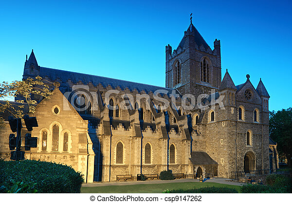 Famous Christ Church Cathedral at evening in Dublin, Ireland  - csp9147262