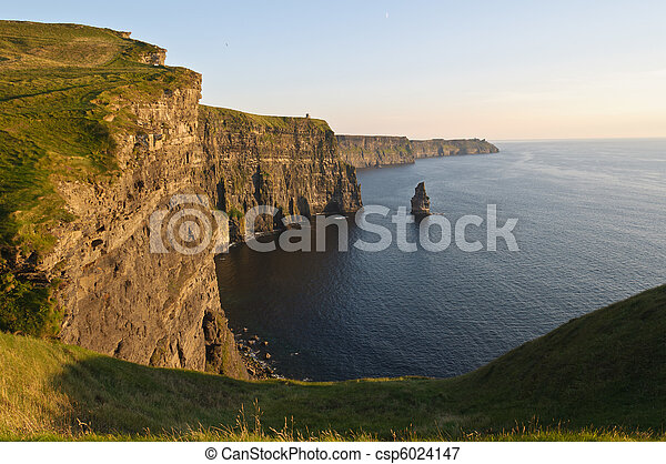 famous cliffs of moher, sunset, county clare, ireland - csp6024147