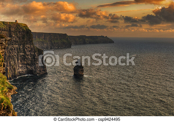 famous cliffs of moher, sunset, county clare, ireland - csp9424495