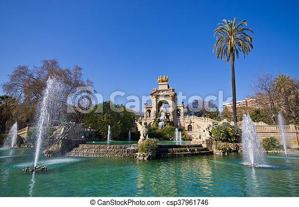 Brunnen Barcelona.Famous Fountain In Barcelona Spain
