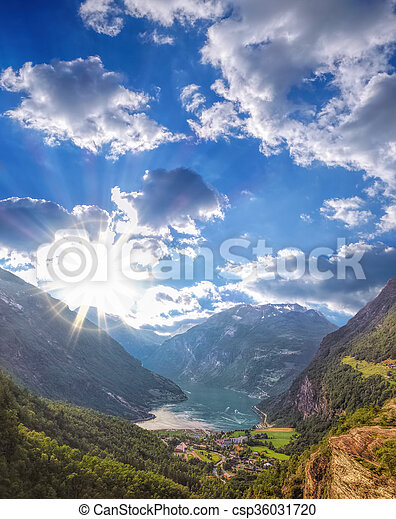 Famous Geiranger fjord in Norway - csp36031720