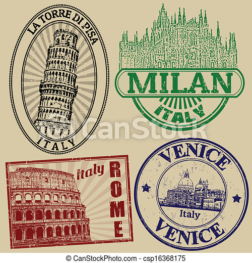 Famous italian cities stamps - csp16368175