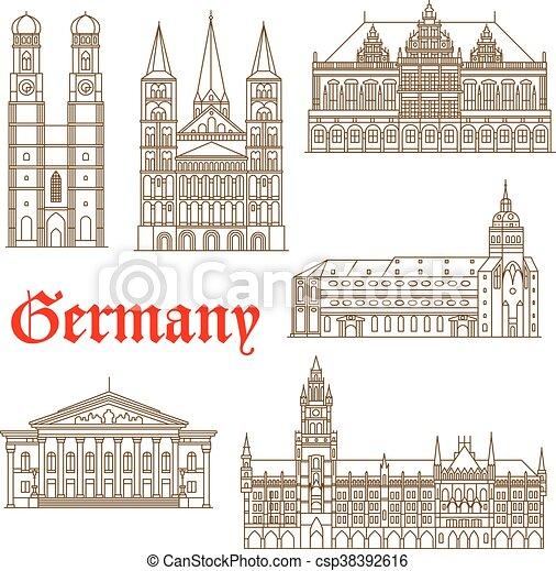 Famous landmarks of german architecture icon - csp38392616