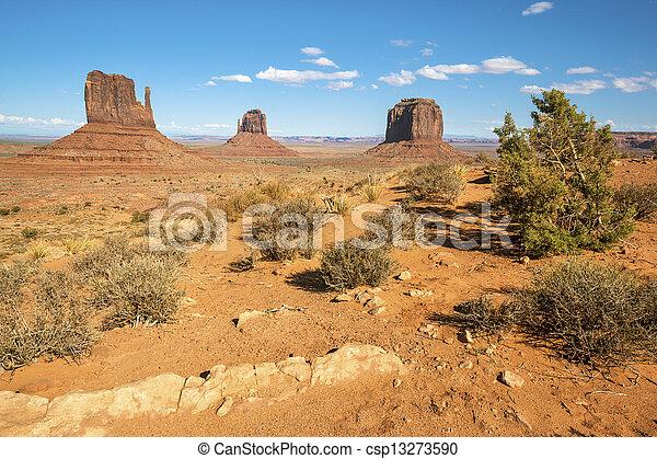 Famous landscape of Monument Valley - csp13273590