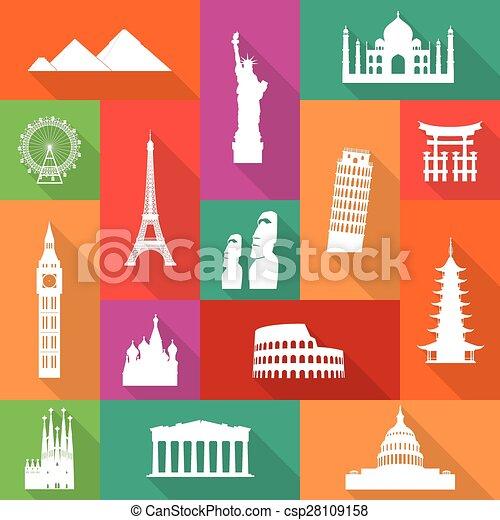 Famous Monuments Icons - csp28109158