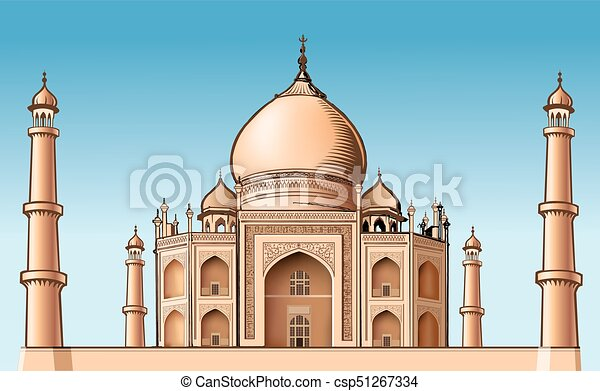 famous place - Asia, Taj Mahal, vector illustration - csp51267334