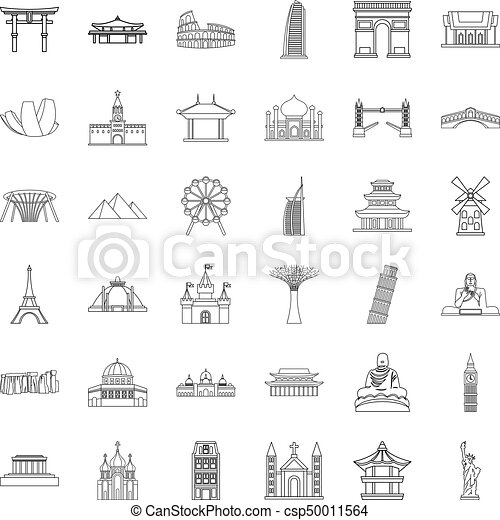 Famous place icons set, outline style - csp50011564