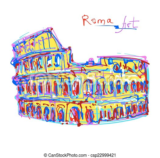 famous place of Rome Italy, original drawing in rainbow colours - csp22999421