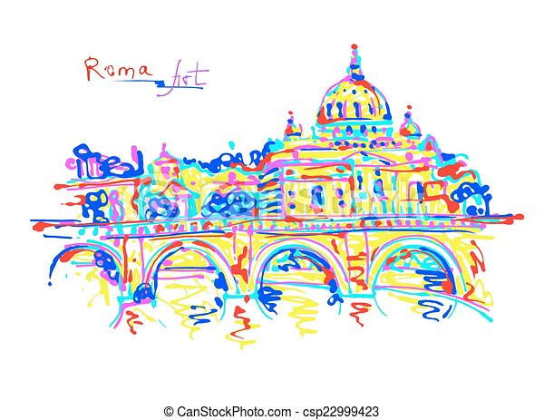 famous place of Rome Italy, original drawing in rainbow colours - csp22999423