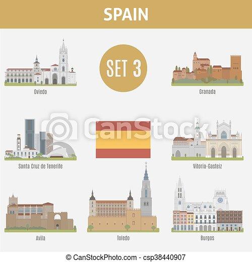 Famous Places Spain cities. Set 3 - csp38440907