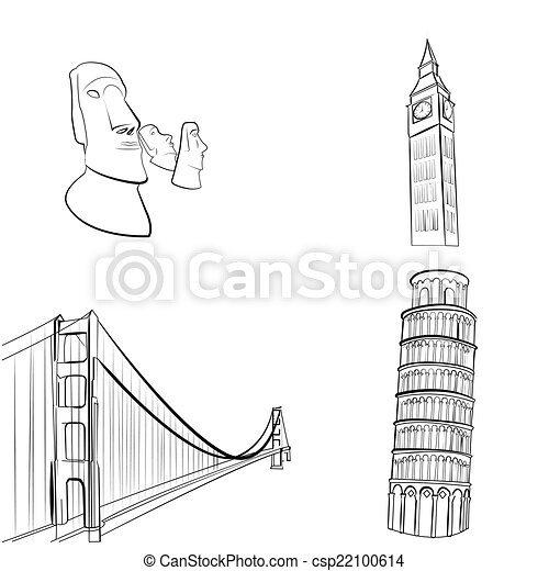 A Set Of Sketches Famous Places Around The World Vector Clip